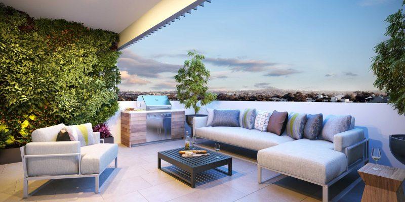 Decoración exterior: terraza y jardín en Marbella